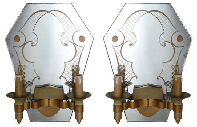 French Mirror Sconces, Pair