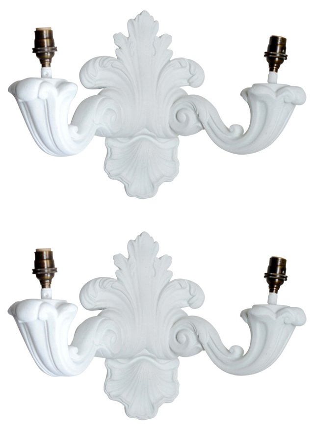 2-Arm French Plaster Sconces, Pair