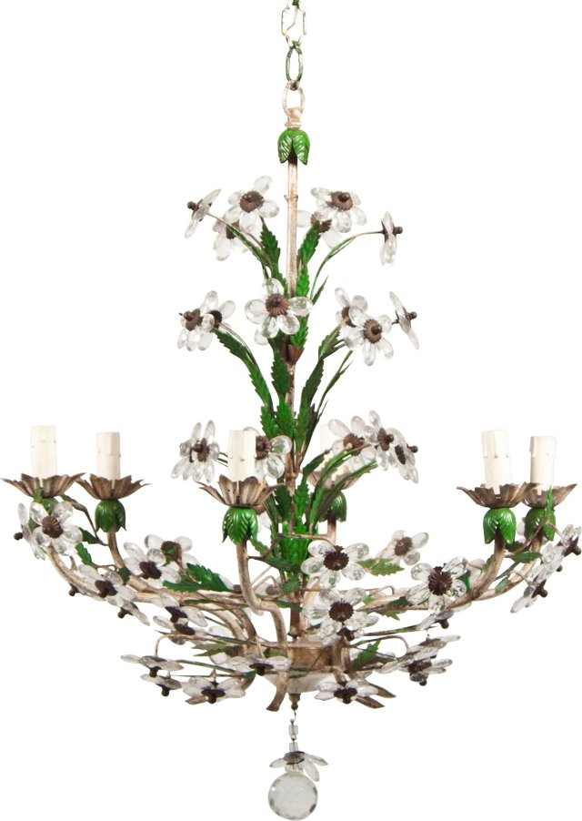 French Crystal Flower Chandelier