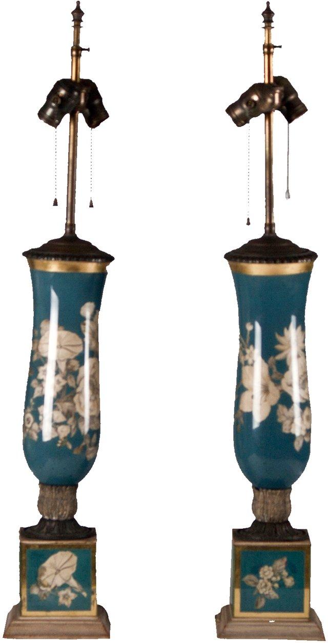 Blue  Églomisé Lamps, Pair