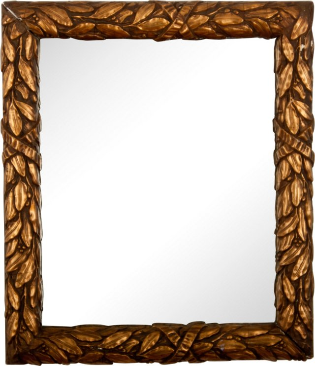 19th-C. Gilt Laurel Leaf Mirror
