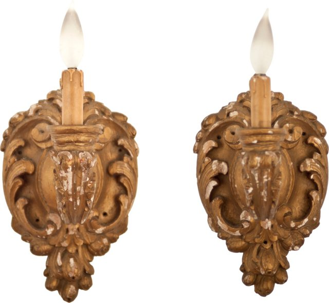 French Carved Wood Sconces, Pair