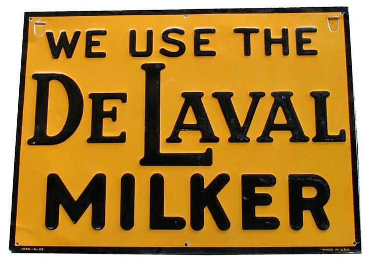 Tin DeLaval Milker Sign