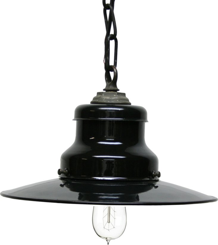 Black Enamel Pendant Light Fixture