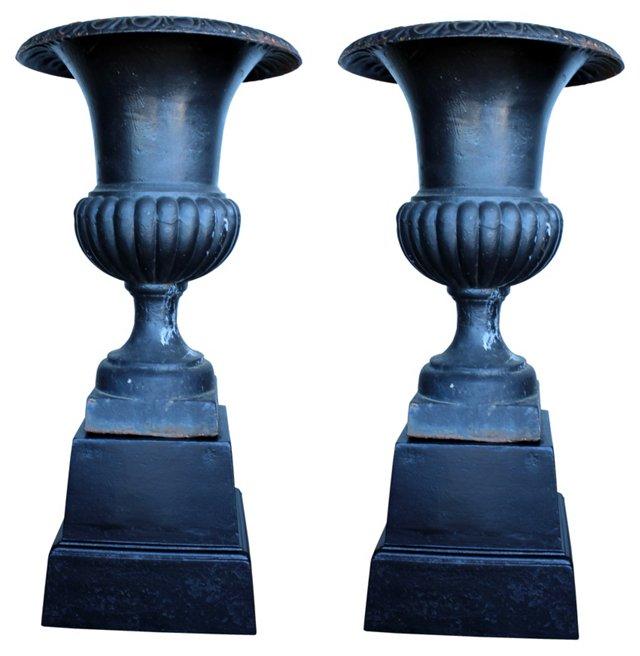 Black Cast Iron Urns, Pair