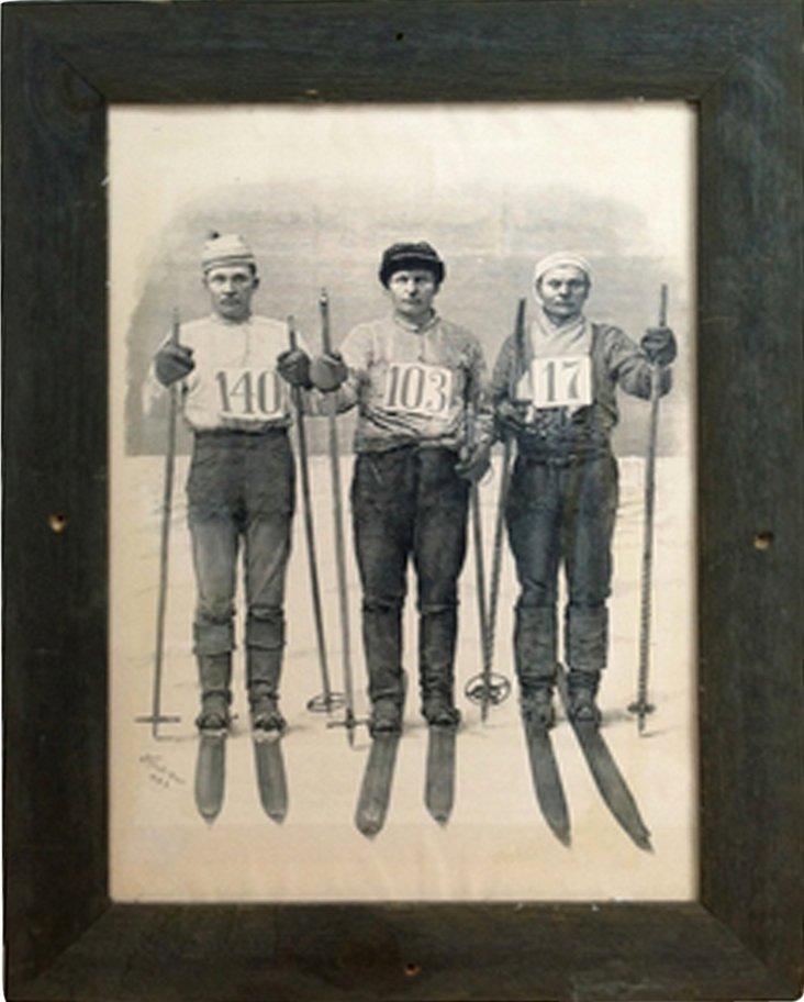 Framed Scandinavian Skiers Lithograph