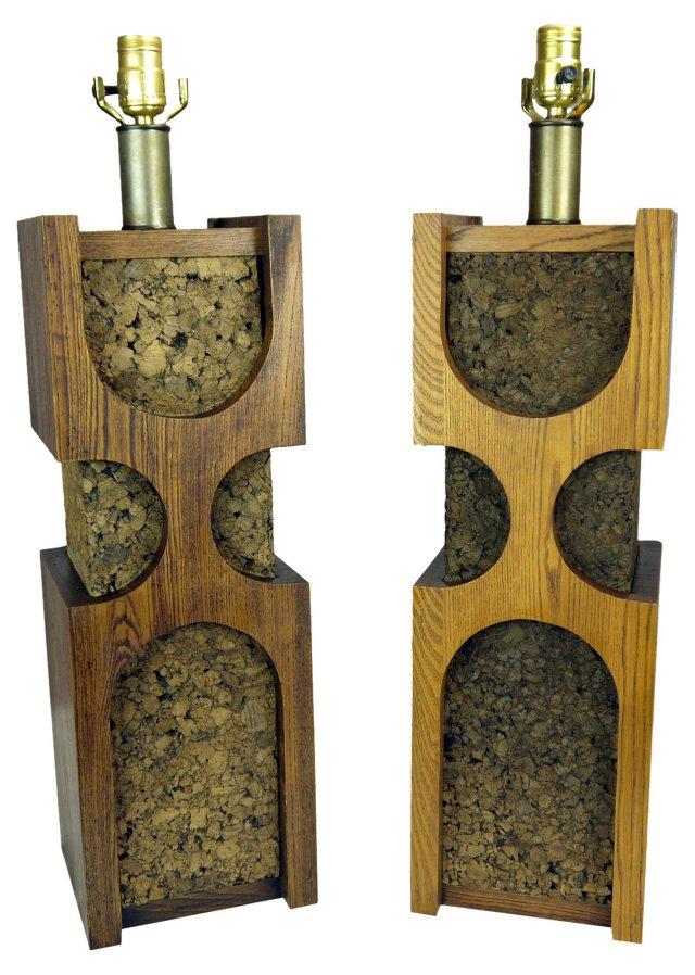 Oak & Cork Lamps, Pair