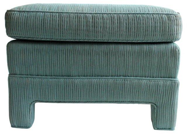 Upholstered  Blue Ottoman
