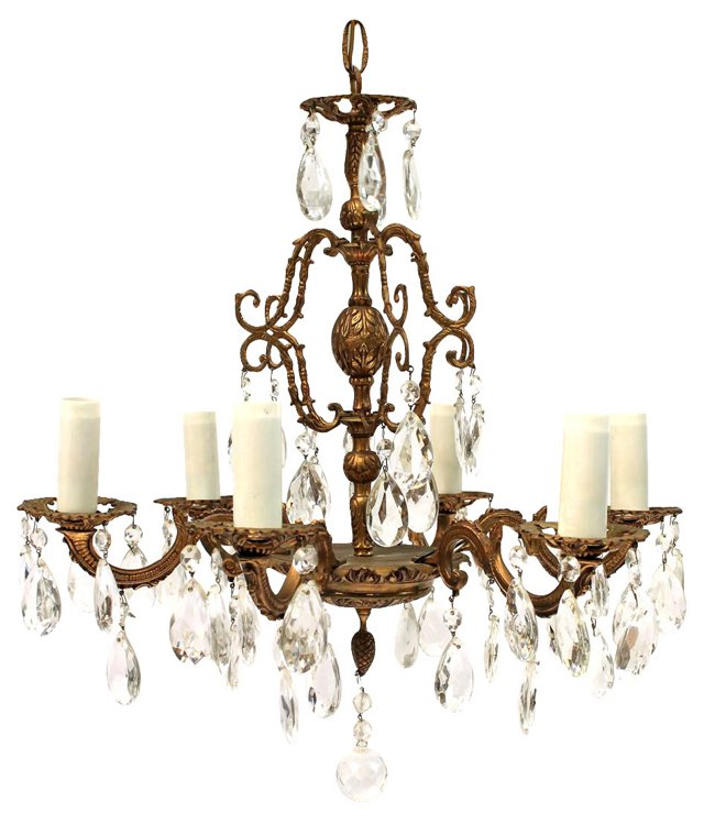 6-Arm Spanish Brass Chandelier