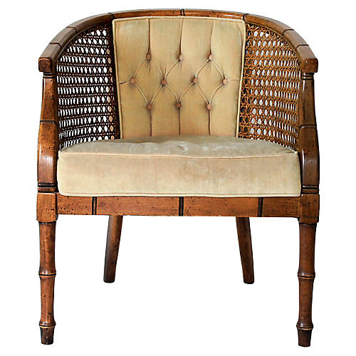 Upholstered Faux-Bamboo Accent Chair