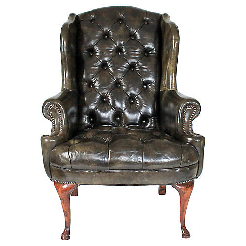 Forest Green Leather Wingback Chair