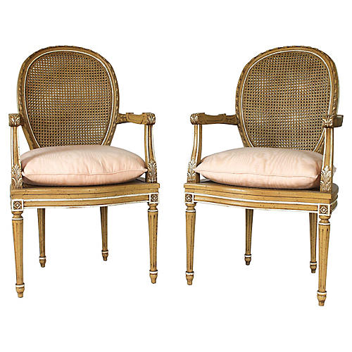 Neoclassical Caned Fauteuils, S/2