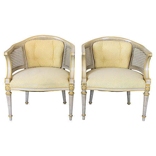 Caned Barrel-Back Chairs, Pair