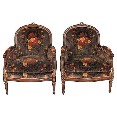 Pair of Louis XVI Bergere Chairs