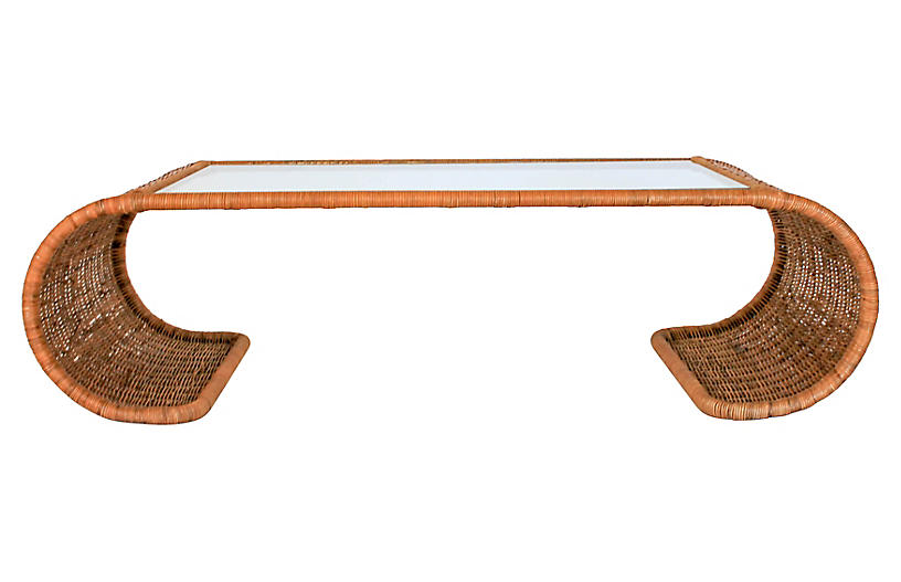Scroll Wicker Coffee Table