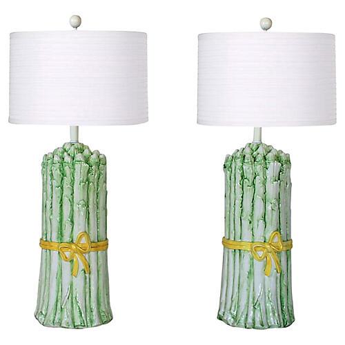 Italian Asparagus Table Lamps - a Pair
