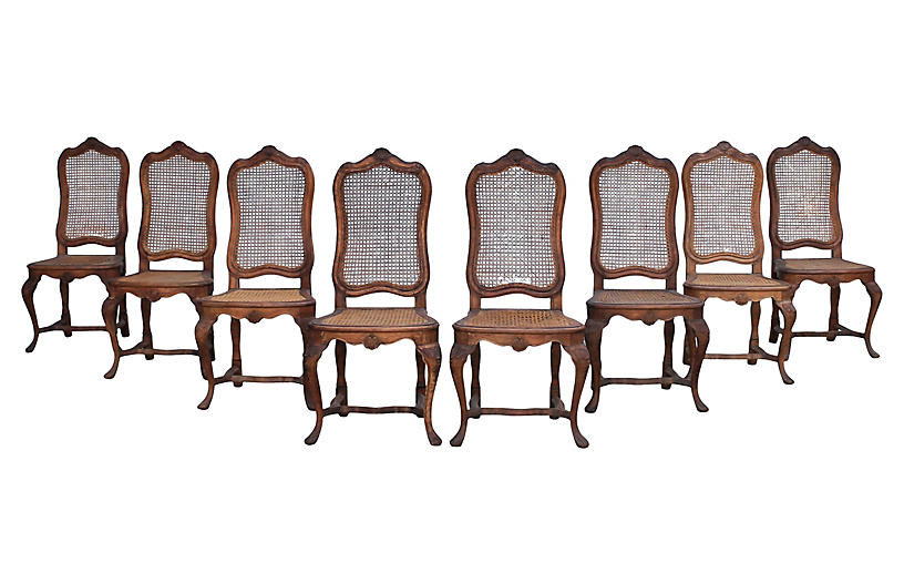 Louis XV-Style Caned Dining Chairs, S/8