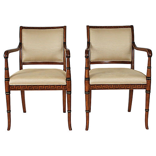 Italian Neoclassical Armchairs, Pair