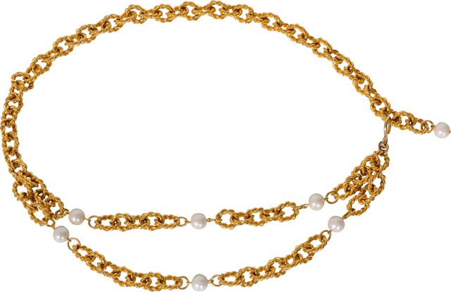 Rope Chain Link Pearl Belt