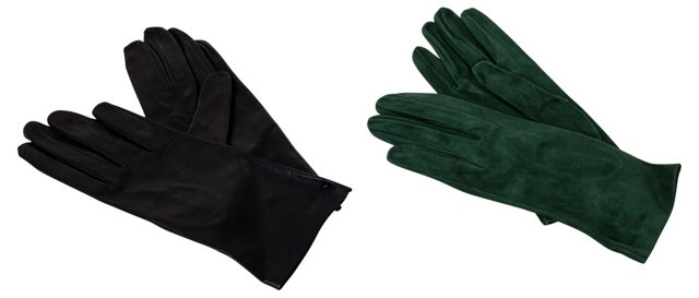 Leather & Suede Lady's Gloves, 2 Pairs