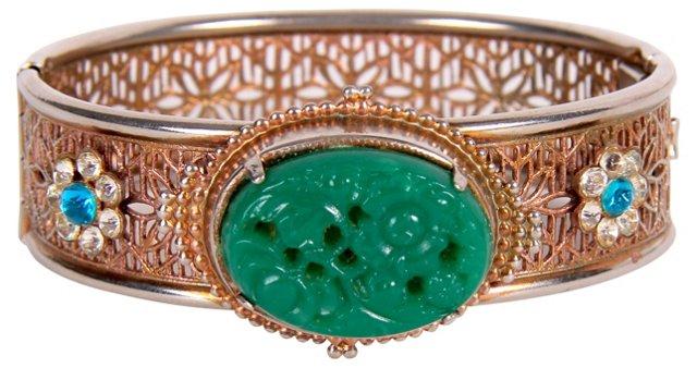 Hinged Faux-Jade Bracelet