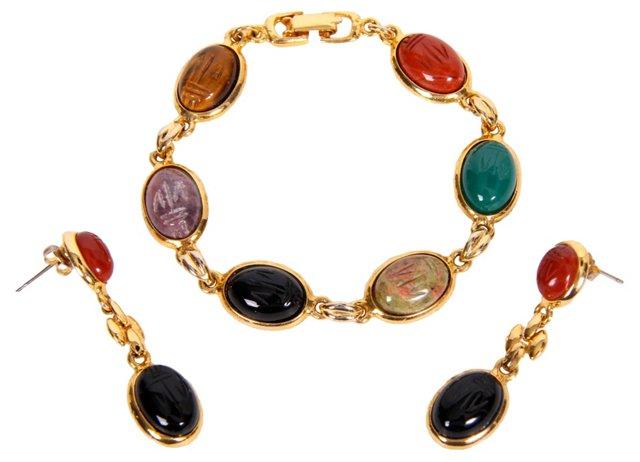 Scarab Bracelet & Earrings Set