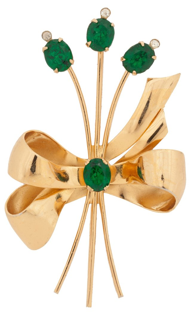 Coro Art Deco Ribbon Pin