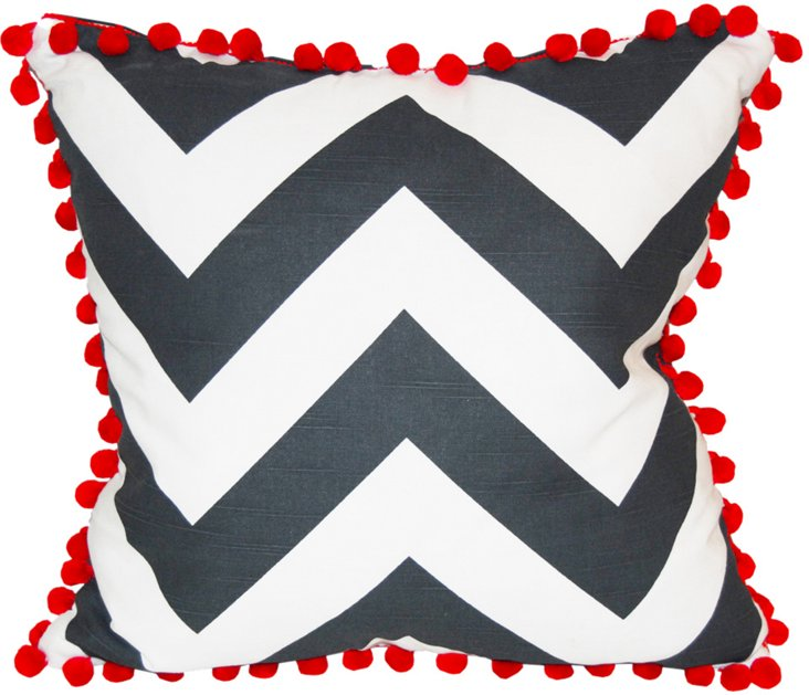 Custom Chevron Pillow w/ Red Pompom Trim