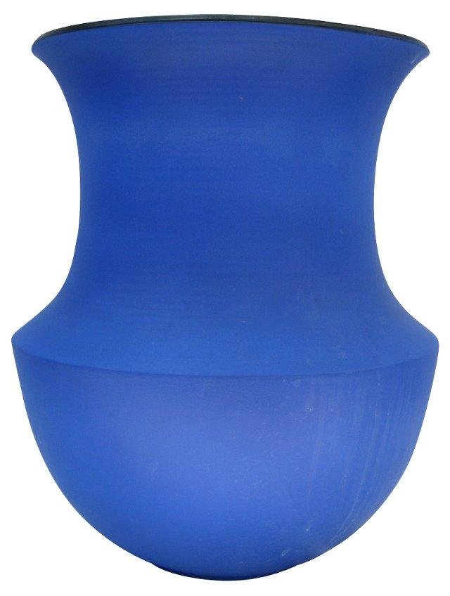 English Azure Blue Pottery Vase