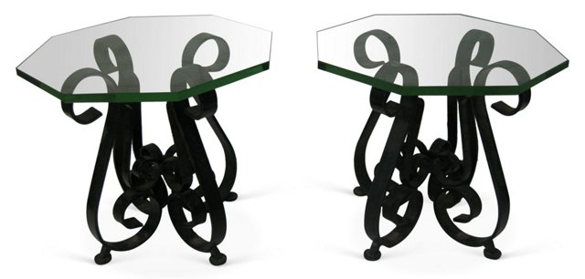 Glass-Top   Scrolled  Iron Tables, Pair