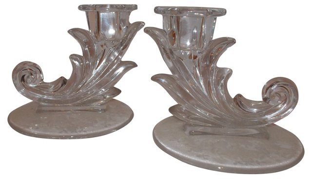 Glass Candleholders, Pair