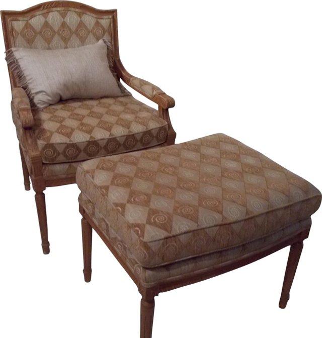 Regency-Style Chair & Ottoman