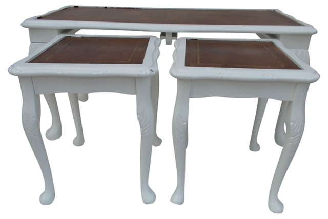 Leather-Top Nesting  Tables, S/3