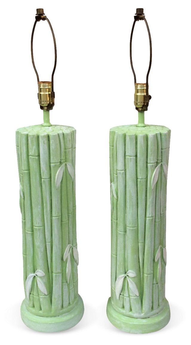 Spring Green Bamboo-Style Lamps, Pair