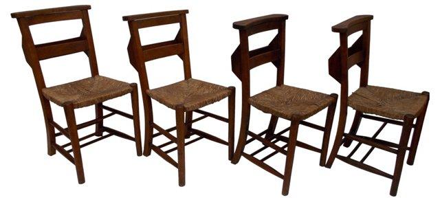 Chapel Chairs w/ Rush Seats, S/4