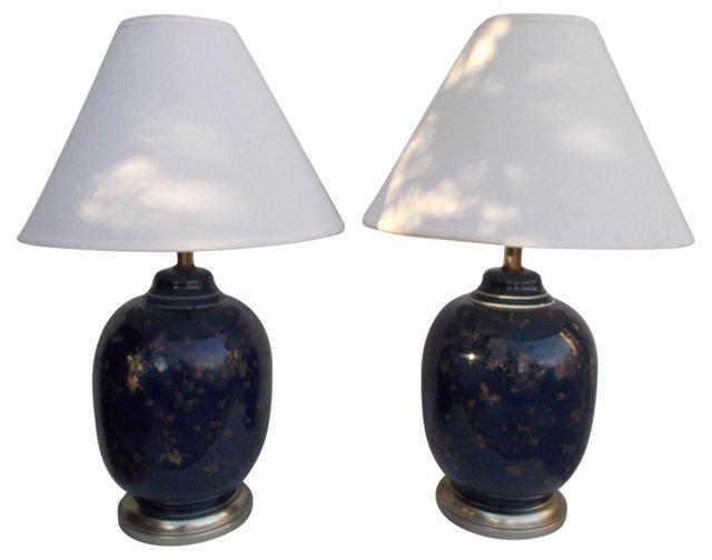 Blue Glass Ginger Jar Lamps, Pair