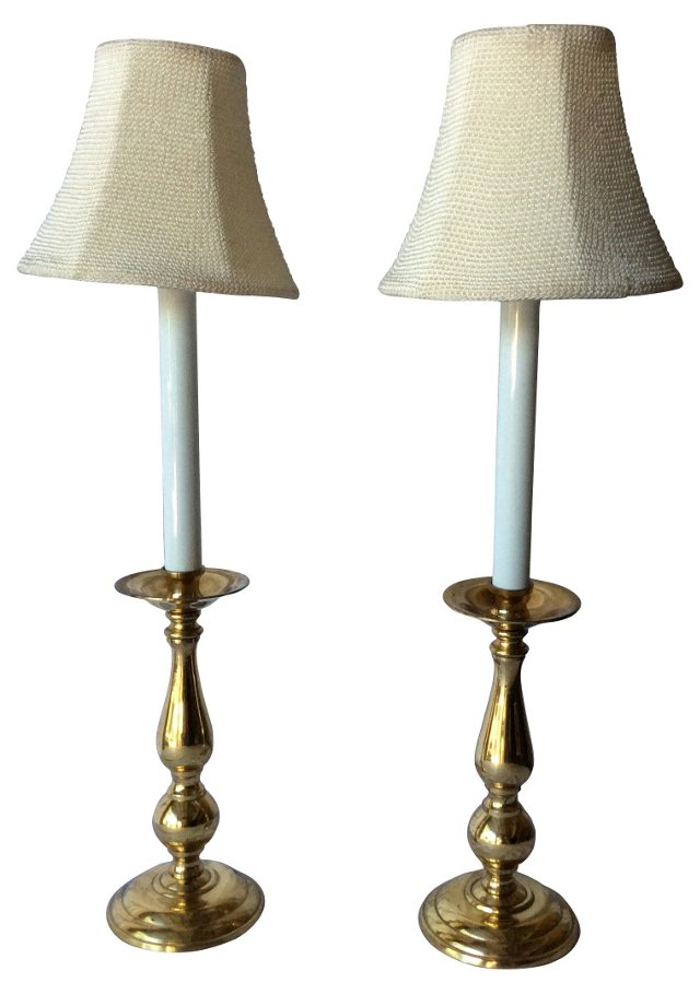Gentile Brass Buffet Lamps w/  Shades
