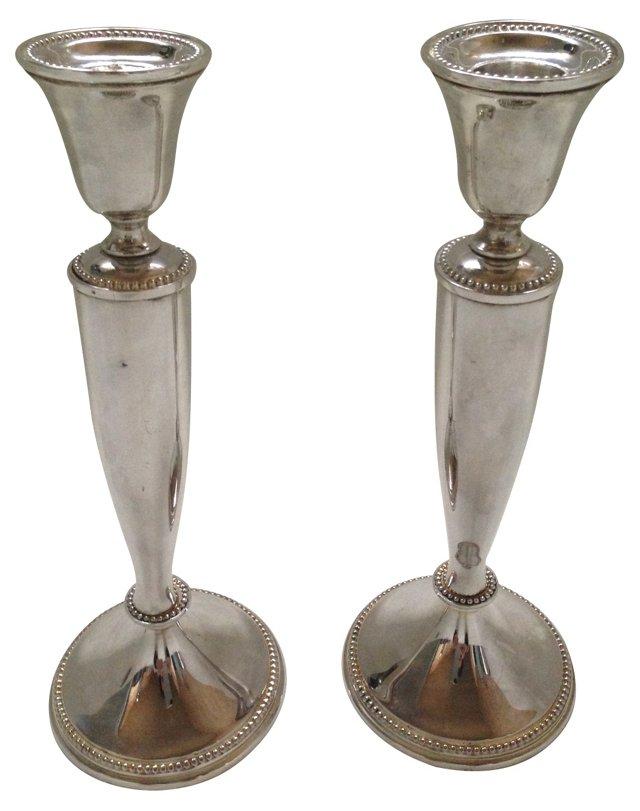 Silver Plate Candlesticks, Pair