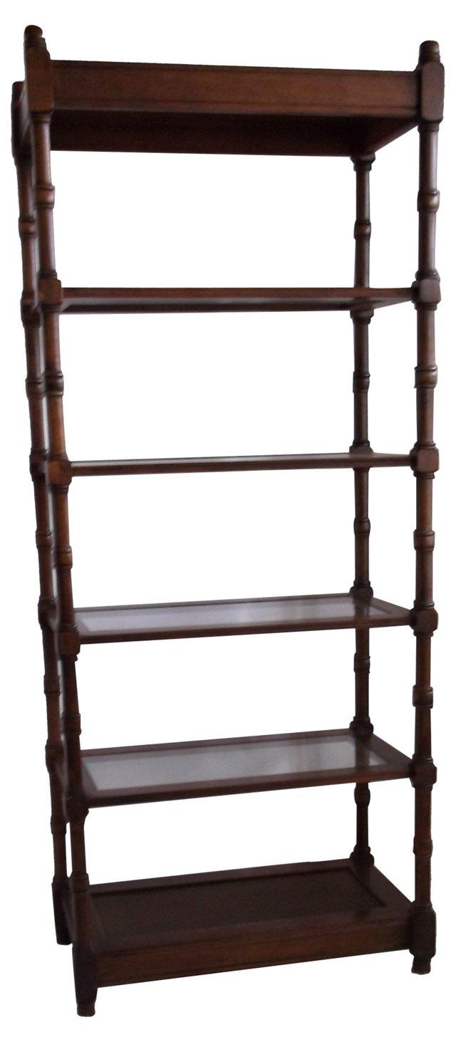 Wood Étagère w/ Glass Shelves