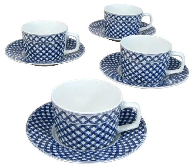 Georges Briard Cups & Saucers, S/4