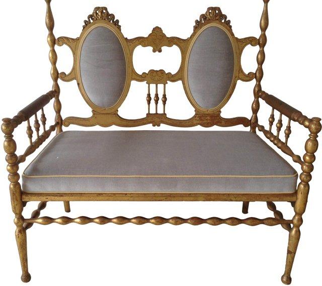 Victorian-Style Gilt Settee