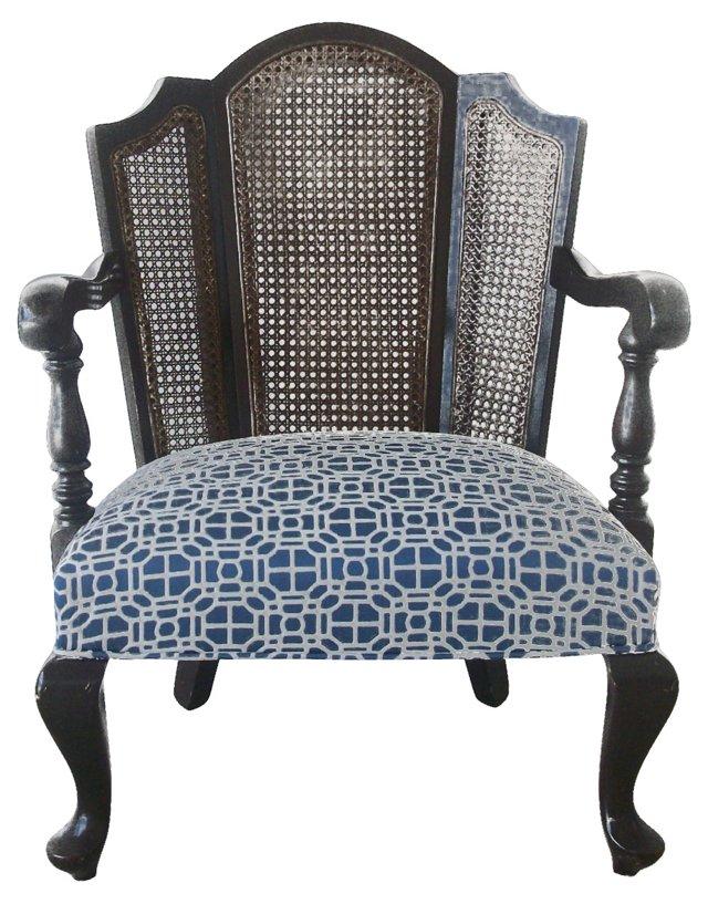 Ebonized Cane-Back  Chair