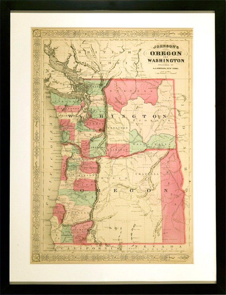 19th-C. Oregon & Washington Map