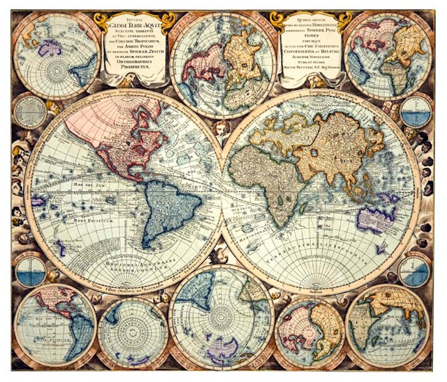World Map, Globi Terr-Aqvei