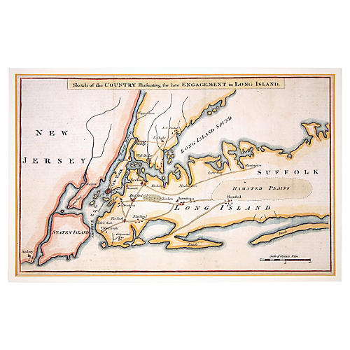 Historic 1776 Map /Battle of Long Island