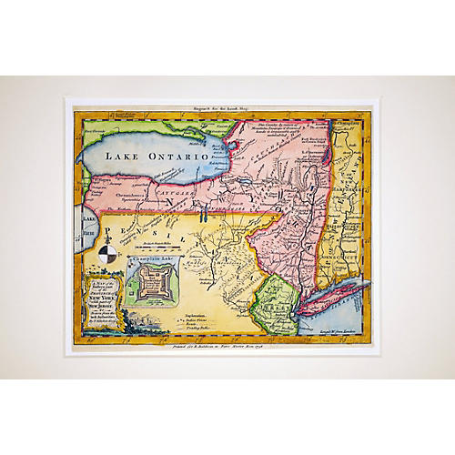 1756 New York & New Jersey Map