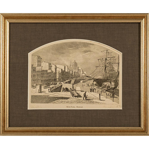 Framed 1874 Engraving of Montreal