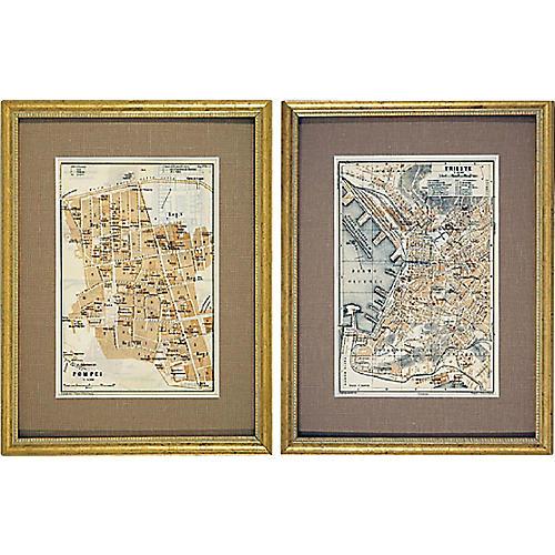 Pompeii & Trieste Maps, S/2