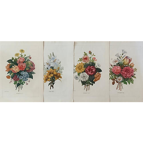 Redouté Bouquet Etchings, S/4