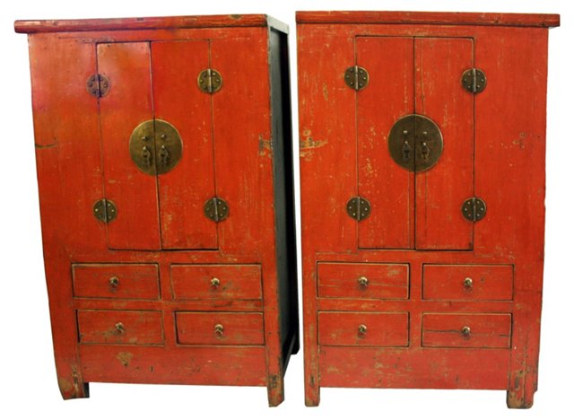 Antique Lacquered  Armoires,  Pair
